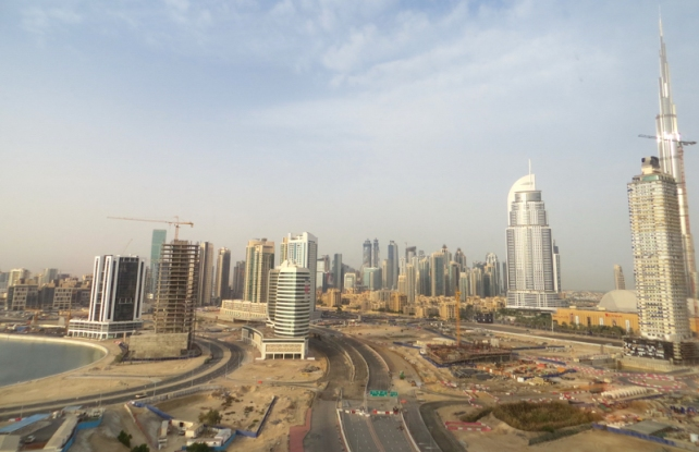Downtown Dubai and new superhighway under construction