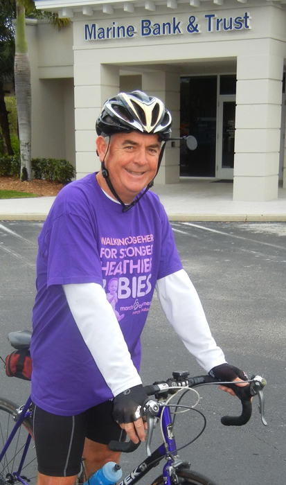 Bill Penney, President and C.E.O. of Marine Bank, plans to ride 75 miles March 1 in hopes of raising $7,500 for the March of Dimes.