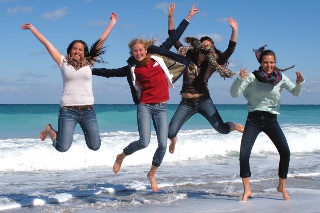 McKenzie (Utah), Maddie (Sweden), Kinsey (Wash. D.C.) and Alicia (Belgium)