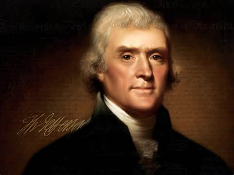 Thomas Jefferson, 3rd President of the United States, and author of The Virginia Act For Establishing Religious Freedom