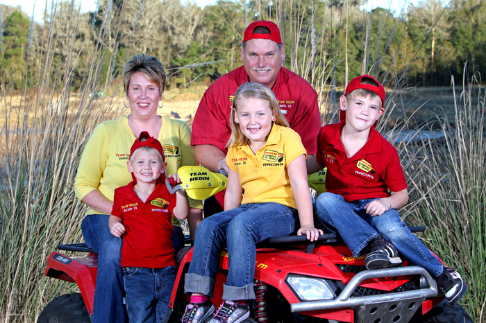 Jennifer and Keith Hedin and their three children, Karson, Karlee and Kalob, are a family with a need for speed and a love of sport.  PHOTO SUPPLIED