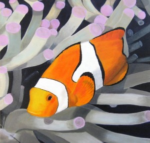 Clownfish oil painting by Bill Flaherty at Sebastian art show next Saturday
