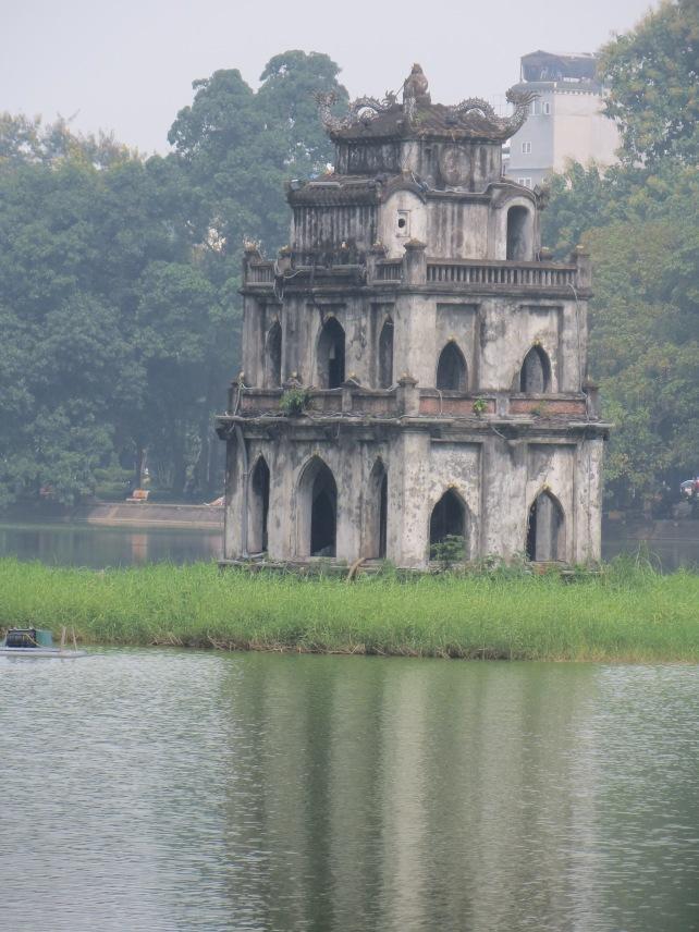 Ngoc Son Temple in Hoan Kiem Lake in central Hanoi