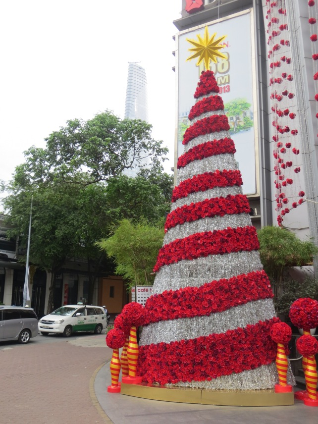 The holiday spirit is on display everywhere - in downtown Saigon, Vietnam