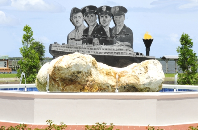 Four Chaplains monument in Sebastian on the waterfront in Rivervidw Park. Memorial service to be held there Saturday, Feb. 11 at 2.