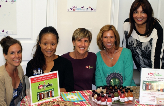 UN Women EFL Chapter Board member, Carrie Sargavakian, Mkt Coordinator, Sherry Todd-Green, Luv Juice owners, Cheri Schumann...and UN Women East Florida Chapter's Board President, Lalita Janke