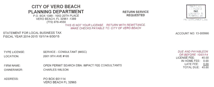 Vero Beach Permit Search
