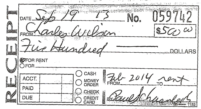 Documents supplied by Wilson raise new and serious questions about – Apartment Rent Receipt