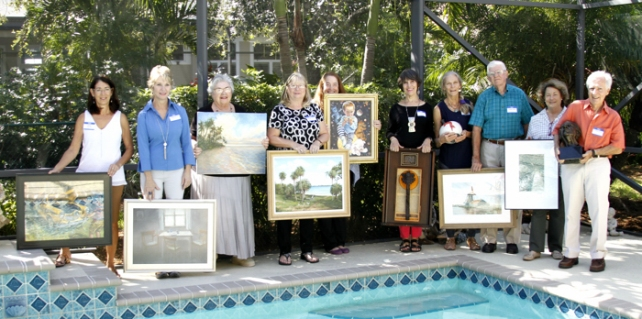 The tour of 10 artists' studios includes (left to right) Sherry Haaland (pastel), Dawn Miller (pastel), Charlotte Dickinson (oil/watercolor), Dawn Mill (acrylic/oil/watercolor), Merana Cadorette (watercolor/acrylics/sculptured ceramics), Joan Earnhart (assemblage/wood), Peggy Thomas (stoneware/Raku pottery), Russell Hahn (postage stamp collage), Betsy Kurzinger (digital illustration/mixed media), George Paxton (sculpture)