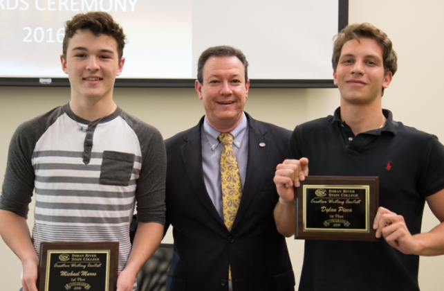 Creative Writing Contest senior winners Dylan Picca and Michael Muros with Dr. Anthony Iacono, IRSC Vice President of Academic Affairs. Not pictured: Ty Lay Hatch.