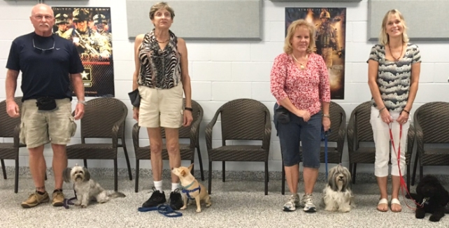Larry & Lola, Chere & Stella, Wanda & Lola and Corinne & Aya, All hearing and service dogs graduating at Dogs For Life, Inc.