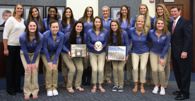 The IRSC Volleyball team receives the annual Skull Award as the 2015 Academic All-Stars, with team members earning an average 3.41 GPA.