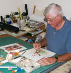 Russ Hahn creating a postage stamp collage.