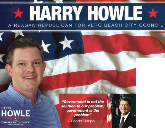 For advertising his party affiliation in a non-partisan municipal election, Harry Howle was fined by the Florida Elections Commission.