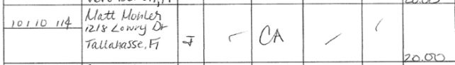 In his Oct. 1-17 financial report, Wilson listed a donation from Matt Mohler of Tallahassee. Mohler words with Front Line Strategies, a communications consulting firm working for All Aboard Florida.  Conveniently, Wilson has since refunded Mohler's contribution.