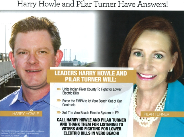 Alliance for Better Florida Communities, a Vero Beach based electioneering communications organization, mailed out a slick post card last fall supporting city council candidates Harry Howle and Pilar Turner. The organization received significant funding from Florida Power & Light.