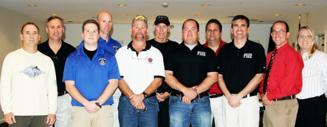 Rick Villars and Bart Crosby, (Pres.) Indian River Shores Public Safety Officers Assoc.;  Brad Kmetz (Pres.) and Dave Farquharson, Vero Beach Police Officers Assoc.; Rick Ridge, (Vice Pres.) IRC Firefighters Assoc; Joe McManus, U.S. Lifesaving Association, IRC Chapter; Kevin Delashmutt  (Vice Pres.) IRC Firefighters Assoc ; Richard Marini Sr., IRC Firefighters Assoc; John O'Connor, (Pres.) IRC Firefighters Assoc.; Ish Hau (Vice Pres.) and Kathy Gibson, IRC Deputies Assoc.   Not in photo Eric Toomsoo,  U.S. Lifesaving Association IRC Chapter
