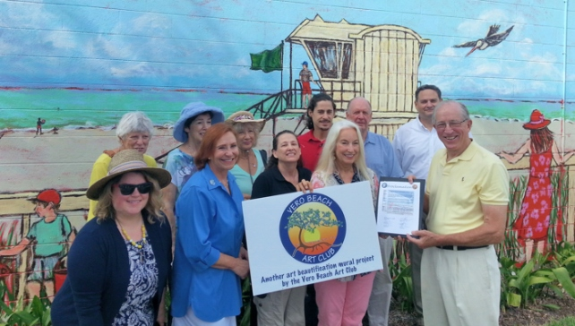 Front row left to right – Councilmember Amelia Graves, Councilmember Pilar Turner, Carol A. Smith (owner Don Smith's Paint Store), Sue Dinenno (President Vero Beach Art Club and Recreation Commission member), Mayor Dick Winger Back row left to right – Vero Beach Art Club members Carol Bennett, May Brandt and Lee G. Smith, Britton G. Smith (owner Don Smith's Paint Store), Councilmember Randy Old and Vice Mayor Jay Kramer. Photo by Laurie Lee