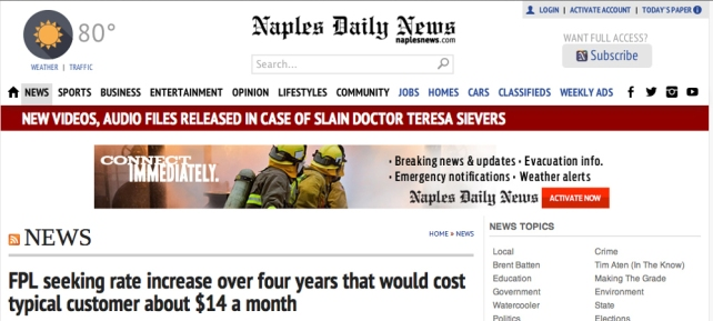 Screen shot from the Naples Daily News. The Daily News released its story on FPL's proposed rate hike Jan. 19. The Press Journal has yet to report the story.