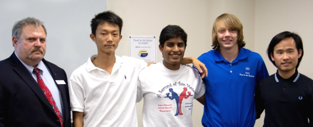 The St. Edward's Team #2 swept the 2016 Math Olympics at Indian River State College. Pictured from Left to Right: Dr. Paul Horton, IRSC Assistant Dean of Mathematics, Natural Science, Performing and Visual Arts; Peter Zheng; Nishanth Chalasani; Zane Zudans; and Lei Zhang