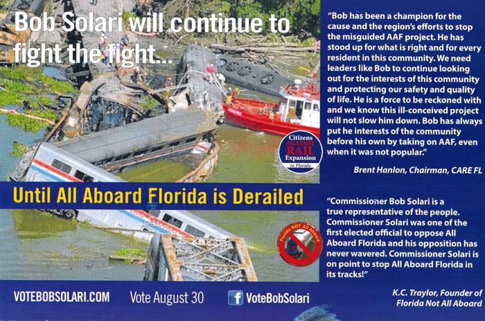 In a recent campaign mailer, Solari used a disturbing picture of the deadliest train crash in Amtrack history.