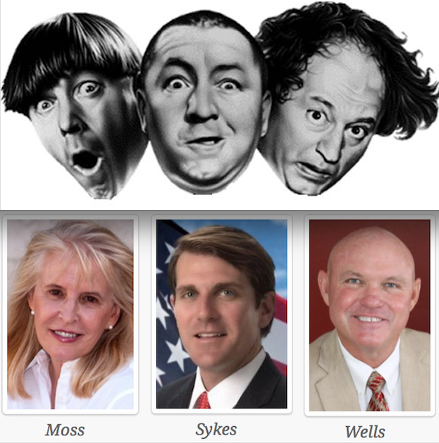 """This time it isn't Moe, Curly and Larry, but Moss, Sykes and Wells who are playing the stooges. The three Vero Beach City Council candidates are, at least according to Shores Mayor Brian Barefoot, part of what he describes as """"the Shores team."""" Apparently unable to raise much money from Vero Beach residents, """"the Shores team"""" is relying on wealthy Shores interests and Florida Power & Light to fund their attempted takeover of Vero Beach government."""