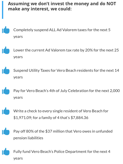 Above is screen shot from Operation Flip Switch's website. The Shore-FPL funded political action committee that supported Laura Moss and Lange Sykes turned out to be a misinformation machine. If Vero Beach is to honor its bond covenants and is to avoid destroying its credit rating, any proceeds from a sale of Vero Electric's shores customers will have to remain in the utility fund, and cannot be used in any of the ways promised by the FPL-Shores funded PAC that supposed Moss and Sykes.