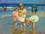 Edward H. Potthast (American, 1857-1927), Three Girls by the Seashore, c. 1915, oil on panel, 12 1/4 x 16